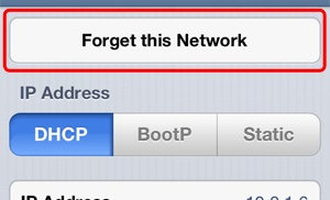 iPhone Forget this network